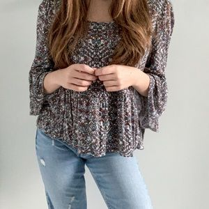 Free People Boho Top with Bell Sleeves - Size M
